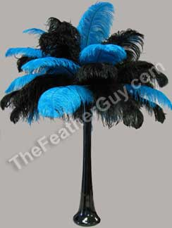 ostrich feather centerpiece with turquoise and black feathers