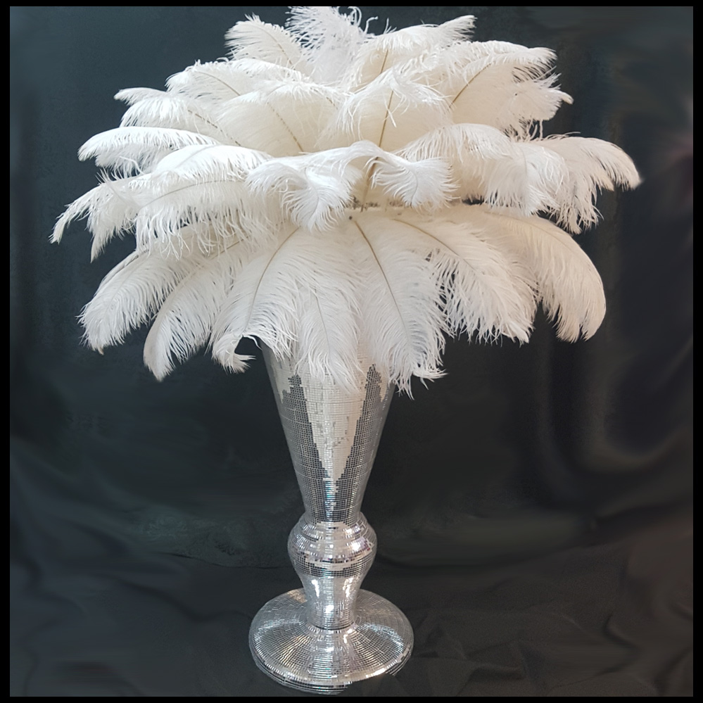 large floor centrepiece with ostrich feather